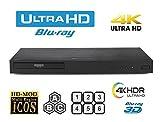 LG UHD 4K Region Free Blu Ray Disc DVD Player - PAL NTSC Ultra HD - USB - 100-240V 50/60Hz for World-Wide Use & 6 Feet Multi System 4K HDMI Cable