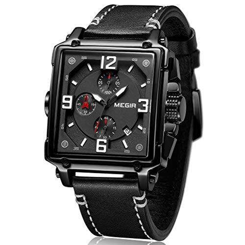 MEGIR Herren Uhren Rechteckig Schwarz Leder Armband Wasserdicht - Analog Chronograph Männer Uhren - Sport All Black Edelstahl Gehäuse mit Datum