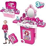 Dreamon Maleta de Maquillaje Conjunto Maletín de Juegos 3 en 1 Tocador con Accesorios Espejo con luz para niños