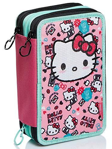 Astuccio 3 Scomparti Hello Kitty, Fabulous, Rosa, Portapenne Scuola completo di matite, pennarelli