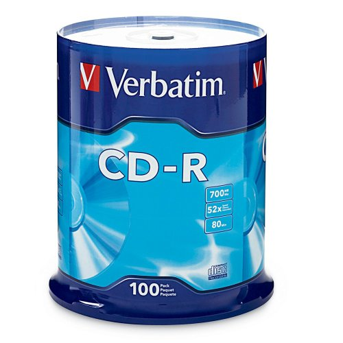 Verbatim CD-R 700MB 80 Minute 52x Recordable Disc - 100 Pack Spindle (FFP) - 97458