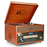 1byone Nostalgic Wooden Turntable Wireless Vinyl Record Player with AM, FM, CD, MP3 Recording to USB, AUX Input for Smartphone and Tablets, RCA Output, Yellow 471NA-0007