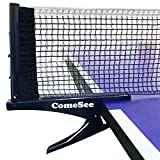 Comesee Kioos Collapsible Table Tennis Net Professional Steel Pingpong Net Clip Grip Mesh Training Competition Portable Tension Adjustable Post (Navy)