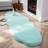 Ashler Ultra Soft Faux Rabbit Fur Chair Couch Cover Area Rug for Bedroom Floor Sofa Living Room Turquoise- 2 x 6 Feet