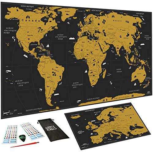 WIDETA Carte du monde à gratter Français, XXL (82 x 43 cm)/ Papier...