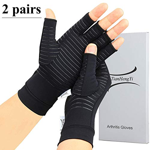 2 Pairs Arthritis Gloves,Copper Compression Arthritis Gloves,Fingerless Hand Gloves for Women and Men,Carpal Tunnel, RSI Osteoarthritis,Computer Typing, and Everyday Support (Black, Medium)