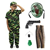 Deluxe Army Commando Complete Costume & Accessory Kit with Hat, Helmet, & Props (Youth Medium) Green