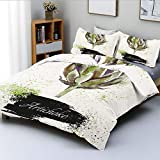 Duplex Print Duvet Cover Set Queen Size,Hand Drawn Delicious Fresh Vegetable Healthy Menu Good Eats Super FoodDecorative 3 Piece Bedding Set with 2 Pillow Sham,Fern Green and Black,Best Gift for Kids