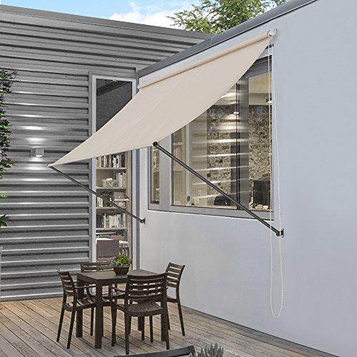 [pro.tec] Markise 250 x 120 cm in Sandfarben Witterungsbeständig Sonnenschutz Beschattung Terrasse Garten