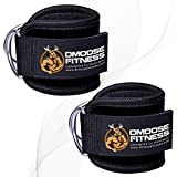 DMoose Fitness Ankle Strap for Cable Machines for Kickbacks, Glute Workouts, Leg Extensions, Curls, and Hip Abductors for Men and Women, Adjustable Neoprene Support (Black, Pair)