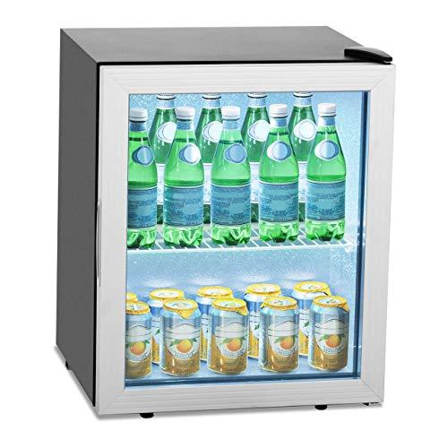 Royal Catering Vetrina Frigo per Bibite Mini Frigo Bevande RCGK-54A (54 L, 0-10 °C, 64 W, R600a, Acciaio Inox, LED)