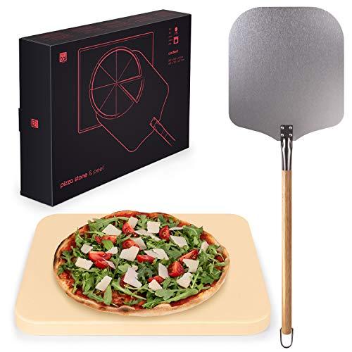 Blumtal Pietra Refrattaria per Pizza da Forno + Pala per Pizza in Alluminio, Pietra Refrattaria per Pizza da Forno e Barbecue