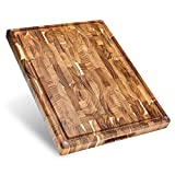 Sonder Los Angeles, Large End Grain Teak Wood Cutting Board, 17x13x1.5in with Sorting Compartments, Non-Slip Feet, Juice Groove (Gift Box Included)