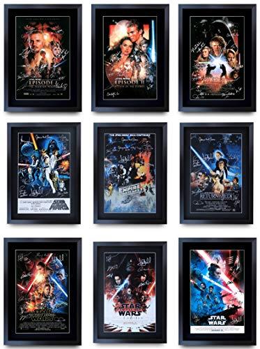 HWC Trading A3 FRI Star Wars Saga Completa Colección La Película Moldeada Póster Firmado con El Capítulo De Regalo Regalo Fisher Ford Hamill Portman Ridley Mcgregor Imagen De Impresión De Pantalla