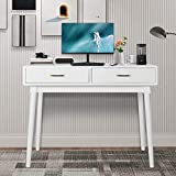 Rotihom Writing Computer Desk with 2 Drawers Modern Design Makeup Vanity Table for Home Office PC Laptop (White)