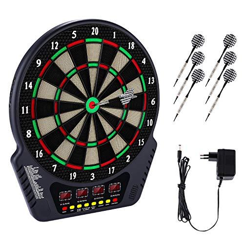 Elektronische Dartscheibe Dardboard mit 4 LCD-Anzeige, 6 Dartpfeilen| 27 Spiele mit 243 Spieloptionen Profi Elektronik Dartspiel E Dartautomat (Schwarz)
