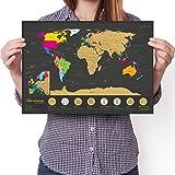 Carte du monde de 7 merveilles à gratter – A3 Édition de voyage –...