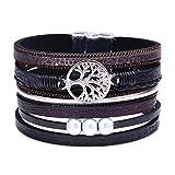 DESIMTION Wrap Around Bracelets for Women Family Boho Buckle Stacking Multilayer Leather Wide Magnetic Layered Bracelet Tree of Life Bracelets for Women Mom Teen Girls Grandma