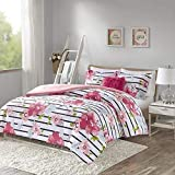 Comfort Spaces Zoe 3 Piece Comforter Set Printed Striped Floral Design with Faux Long Fur Decorative Pillow Bedding, Twin/Twin XL, Pink