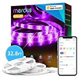 Smart LED Strip Lights Works with Apple HomeKit, 32.8ft WiFi RGB Strip, Compatible with Siri, Alexa&Google and SmartThings, App Control, Color Changing Led Strips for Home, Bedroom, Kitchen, TV, Party