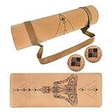 MENKAI - Esterilla de Yoga-Incluye Correa de Transporte y 2PC Bola para Masajes-100% Ecológicos Corcho - Esterilla de Deporte Antideslizante - Yoga Mat de 183x65cm
