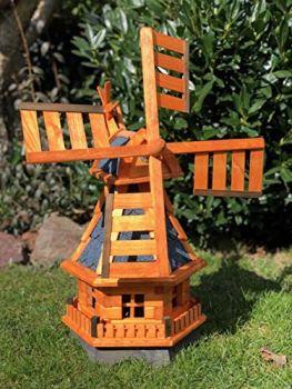 Darlux Moulin à vent hexagonal en bois avec roulement à billes Marron/bleu Hauteur 70 cm