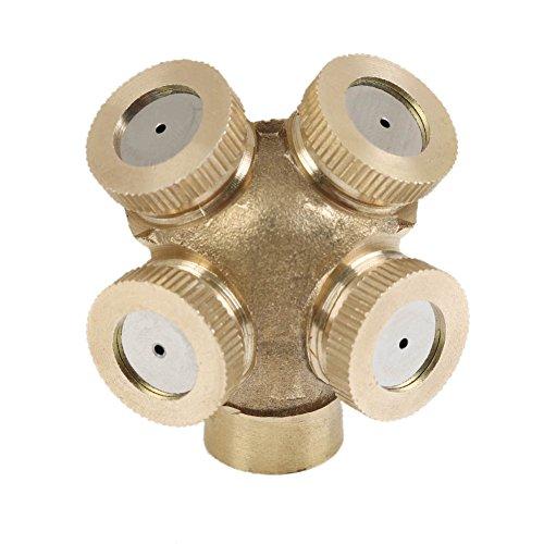 Connettore con 4fori in ottone per nebulizzazione spray, ugello per irrigatori da giardino, per...