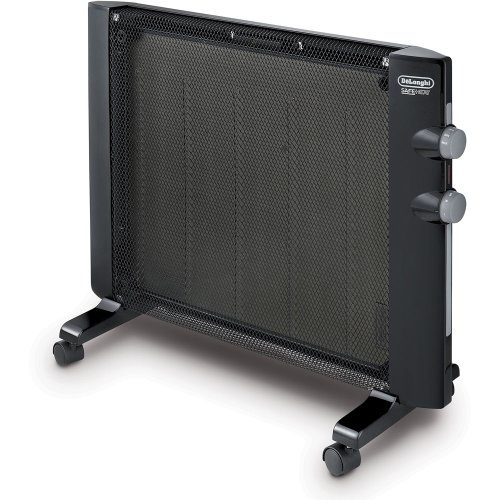 De'Longhi Mica Thermic Panel Heater, Full Room Quiet 1500W, Freestanding / Easy Install Wall Mount, Adjustable Thermostat, 2 Heat Settings, Black - HMP1500