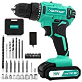 """COMOWARE 20V Cordless Drill, Electric Power Drill Set with 1 Batteries & Charger, 3/8"""" Keyless Chuck, 2 Variable Speed, 266 In-lb Torque, 17+1 Position and 34pcs Drill/Driver Bits"""