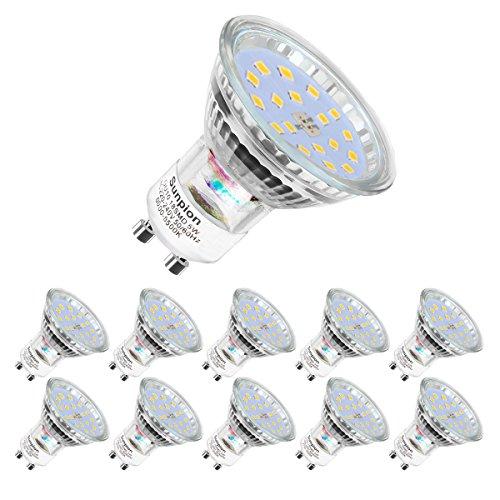 Lampadine LED GU10, 5Watt Pari ad alogene da 60Watt, 600 lumen, Luce Bianca Fredda 6000k, Angolo del Fascio di 120 Gradi, Lampadine LED Non Dimmerabili,Confezione da 10