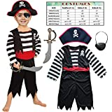 Children's Pirate Costume for Toddlers Boys Girls with All in one Pirate Suit,Cutlass,Eyepatch (Toddler3-4, White/Black)