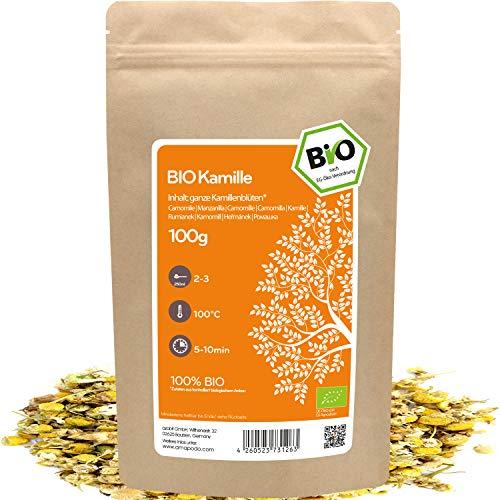 amapodo Bio Kamille Tee lose 100g ganze Kamillenblüten für Kamillentee oder Kamillenbad