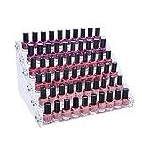 Mobengo - Soporte expositor de 6niveles acrílico con capacidad para 66 botes de esmalte de uñas, para joyería o como organizador de maquillaje