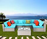 Do4U 7 Pieces Outdoor Patio Furniture Sectional Conversation Set, Wicker Rattan Sofa Beige Seat & Back Cushions (Turquoise)
