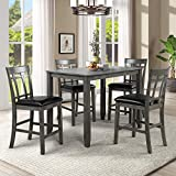 Harper & Bright Designs 5 Piece Wood Dining Table Set, Vintage Rectangular Counter Height Bar Table with 4 Chairs for Dining Room, Pub and Bistro (Antique Graywash)