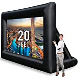 Jumbo 20 Feet Inflatable Outdoor and Indoor Theater Projector Screen - Includes Inflation Fan, Tie-Downs and Storage Bag - Supports Front and Rear Projection