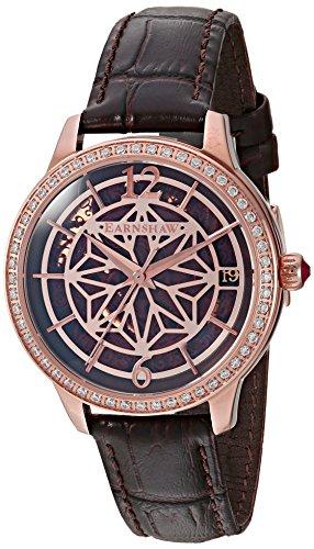 Thomas Earnshaw Damen Skeleton Automatik Smart Watch Armbanduhr mit Leder Armband ES-8064-02