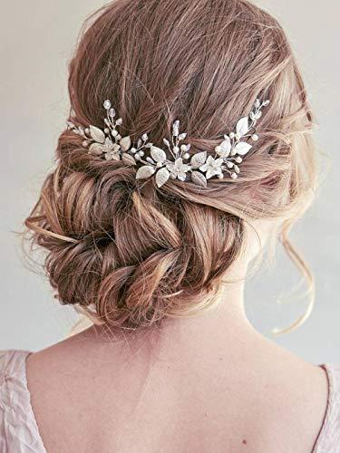 Unsutuo Bride Flower Wedding Headband Silver Crystal Pearl Hair Vine Bridal Headpiece Wedding Hair Accessories for Women… 2