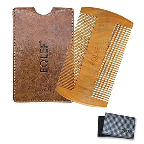 EQLEF ® Barba pettine di legno, legno di sandalo verde senza pettine handmade statico, legno baffi pettine