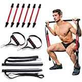 Portable Home Gym Pilates Bar System, Full Body Workout Equipment for Home, Office or Travel, Weightlifting and HIIT Interval Training Kit with 6 Resistance Bands