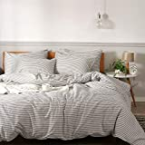 JELLYMONI 100% Natural Cotton 3pcs Striped Duvet Cover Sets,White Duvet Cover with Grey Stripes...