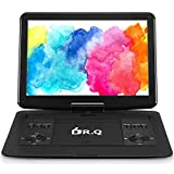 """16.8' Portable DVD Player with 14.1"""" Large HD Screen, 6 Hours Rechargeable Battery, Support USB/SD Card/Sync TV and Multiple Disc Formats, High Volume Speaker, DR. Q Black (Renewed)"""
