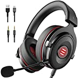 EKSA E900 USB Gaming Headset-Xbox One Headset with 7.1 Surround Sound, PS4 Headset Noise Cancelling Headset with Mic&LED Light, Compatible with PC, PS4, Xbox One Controller, Nintendo Switch