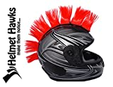 Helmet Hawks Motorcycle, Ski or Snowboard Helmet Mohawk w/Sticky Hook and Loop Fastener Adhesive (8) Hair Patches 2' long x 3' Tall - Candy Red