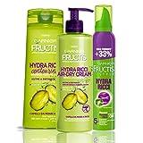 Garnier Fructis Hydra Ricci Kit con champú, tratamiento y espuma de peinado para definir el cabello ...