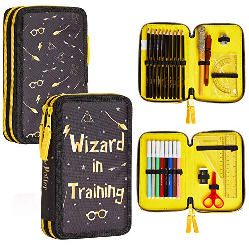 Harry Potter Astuccio Scuola, Materiale Scolastico Back To School, Portapenne 3 Scomparti: Matite Colorate, Penne E Set Completo Accessori, Astucci Kawaii Per Elementare E Media, Regalo Originale