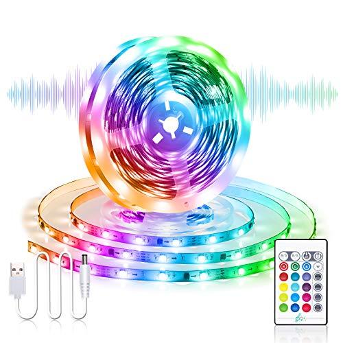 Striscia LED USB RGB 5M, Besvic Musica Sync Striscia LED TV Retroilluminazione con Telecomando, 16 Colori 4 Modalit Dimmerabile Luci Strisce LED Strip per TV Feste in Camera da Letto
