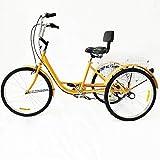 Tricycle de 24' pour adulte - 6 vitesses - Avec dossier de croisière et panier jaune - Pour les personnes âgées - Pour les voyages, s'entraîner au nom des autres et améliorer leur corps.