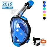 OUSPT Full Face Snorkel Mask, Snorkeling Mask with Detachable Camera Mount, Panoramic 204° View Upgraded Dive Mask with Safety Breathing System, Dry Top Set Anti-Fog Anti-Leak