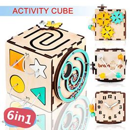 BrainUpToys Busy Activity Cube for Travel Toddlers Kids Children Baby – Busy Board – Wooden Sorter Toy – Montessori Toys Infant – Sensory Board – Learning Basic Life Skill – Time Telling Clock